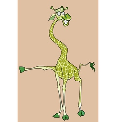 cartoon cheerful dancing green giraffe vector image vector image