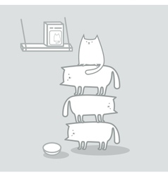 Cats stacked to reach cat food vector