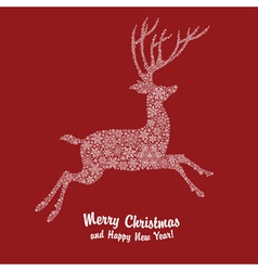 christmas deer on red vector image vector image