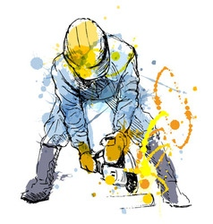 Colored hand sketch construction worker vector image