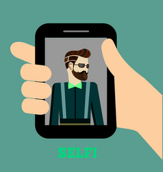 colorful hipster selfie concept vector image vector image