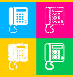 Communication or phone sign four styles of icon vector