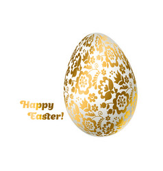 Easter egg gold foil decoration floral elegant vector