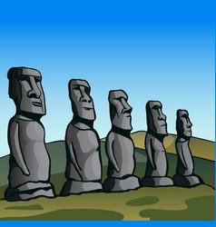 easter island stone idols vector image vector image