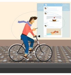 Funny handsome guy rides a bike vector
