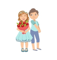 Girl With The Bouquet And Shy Boy Next To Her vector image