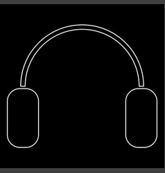 Headphone the white path icon vector