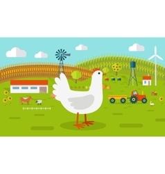 Hen on farmyard concept vector