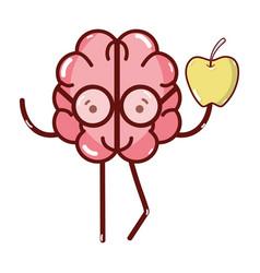 icon adorable kawaii brain eating apple vector image vector image