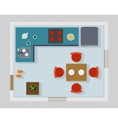 Kitchen with furniture set top view vector