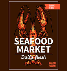 Lobster crawfish sketch poster for seafood market vector