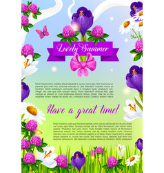 Lovely summer flowers poster vector