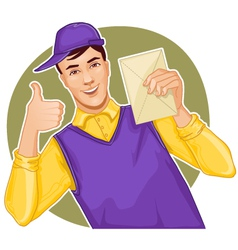 Mail carrier with a letter vector image vector image