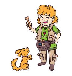 man with dog dog training vector image