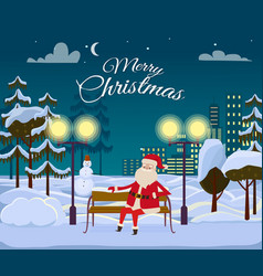 Merry christmas from santa among white snowy field vector