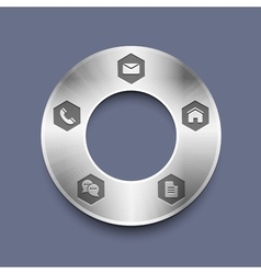 Metallic round web design template vector
