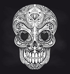 mexican skull on chalkboard background vector image vector image