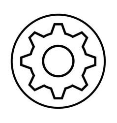 Monochrome contour with circular frame with pinion vector