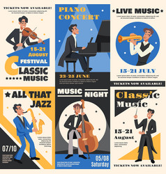 musician poster banner set vector image