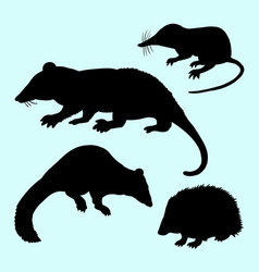 Rat mice weasel and hedgehog silhouette vector