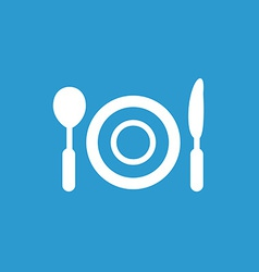 restaurant icon white on the blue background vector image