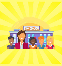 School building with pupils vector