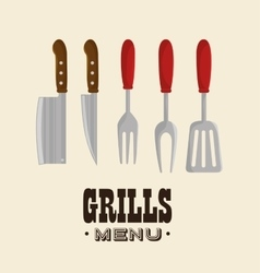 set grills menu tools design isolated vector image vector image