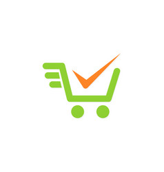 shopping cart check mark logo vector image