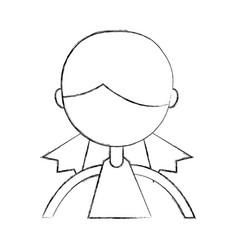 Sketch draw upper body girl cartoon vector