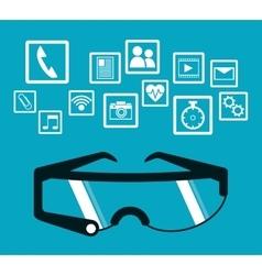 Smart glasses wearable technology blue background vector