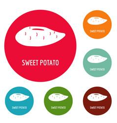 Sweet potato icons circle set vector