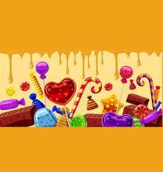 Sweets cakes banner horizontal line cartoon style vector