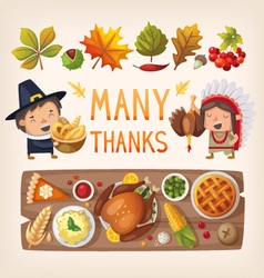 Thanksgiving day card elements vector image vector image