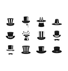 top hat icon set simple style vector image