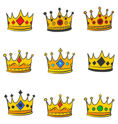 Various style gold crown doodles vector