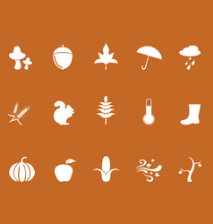 white autumn icons on brown background vector image
