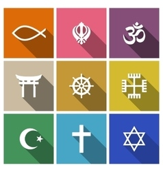World religion symbols flat set vector