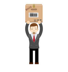 young delivery man holding and carrying a cardbox vector image