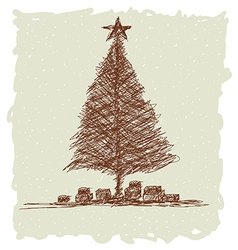 christmas tree vintage vector image