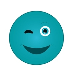 Happy wink emoticon icon vector