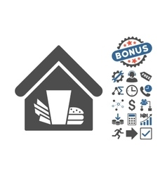 Fastfood cafe flat icon with bonus vector