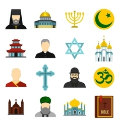 Religious symbol icons set flat style vector