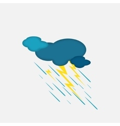 Weather icon of the rainy cloud and lightning vector