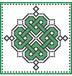 Celtic knot in cross stitch in green vector