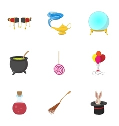 Sorcery icons set cartoon style vector