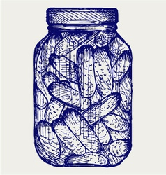 Preserved cucumbers in a jar vector image