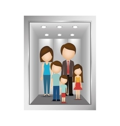 Picture open building elevator with family inside vector