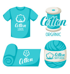 Cotton label on t-shirt fabric thread yarn vector