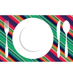 Fork knife and spoon tablecloth vector