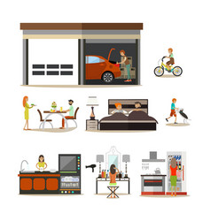 Flat icons set of house interior family vector